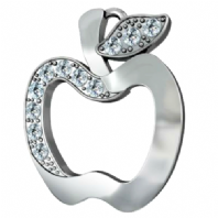 Sterling Silver Apple Charms With Crystal